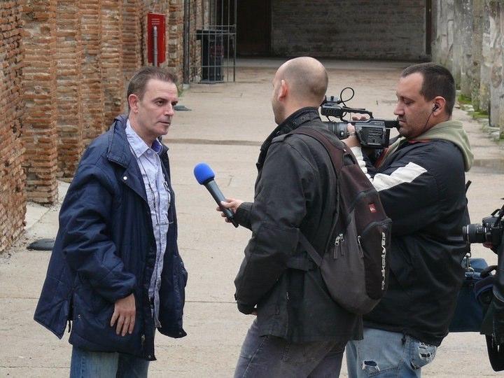 Entrevista para un canal de la TV italiana. Ruinas de Pompeya