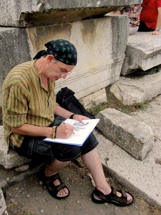 """Realización """"in situ"""" de la colección """"CLASSIC"""". Dibujo a tinta, mano alzada Templo de Júpiter, en el Foro Civil de Pompeya (Italia)"""