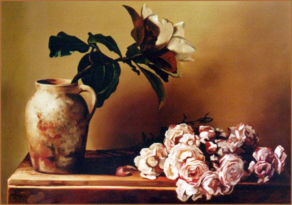 Magnolia y rosas II. Óleo sobre lienzo