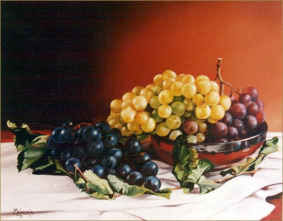 Uvas y peras. Óleo sobre lienzo