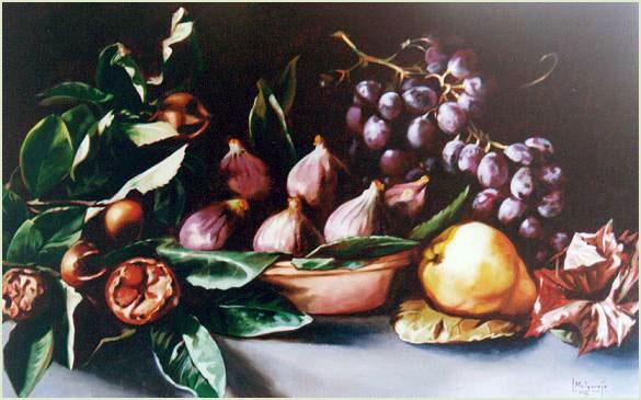 Higos y uvas. Óleo sobre lienzo 73 x 50