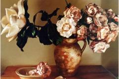 Magnolia y rosas I. Óleo sobre lienzo
