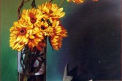 Flores y uvas bordes. Óleo sobre lienzo