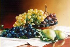 Uvas variadas. Óleo sobre lienzo