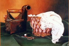 Bodegón con costurero. Óleo sobre lienzo 55 x 46