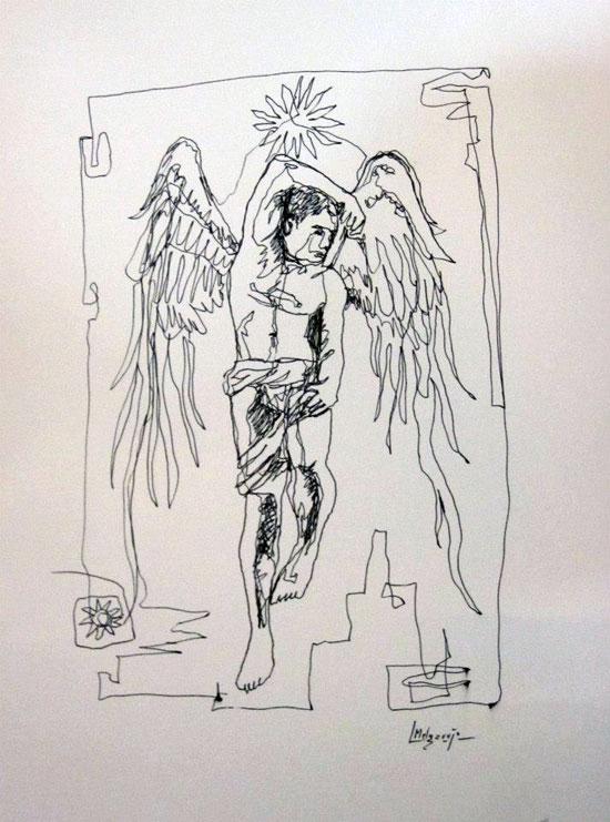 Angel del Cambio. Dibujo a 1 Trazo