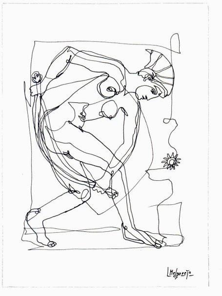 La Bañista. Dibujo a 1 Trazo