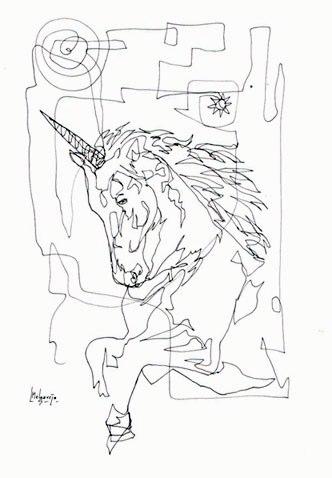 Unicornio. Dibujo a 1 Trazo