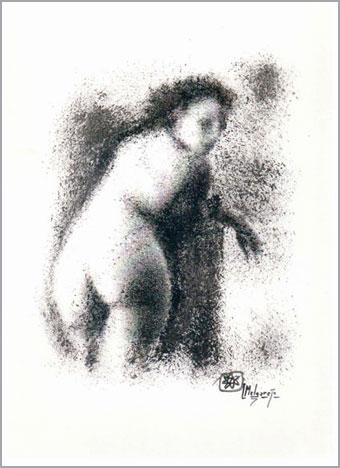 Desnudo femenino Tempera y tinta pintado con esponja