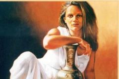 Mujer con frutas Óleo sobre lienzo 61 x 50
