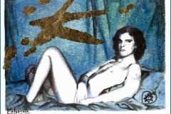 Oro Azul Acuarela, tinta y pan de oro 29 x 21