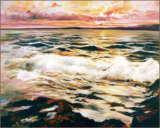 Mar revuelto. Óleo sobre lienzo