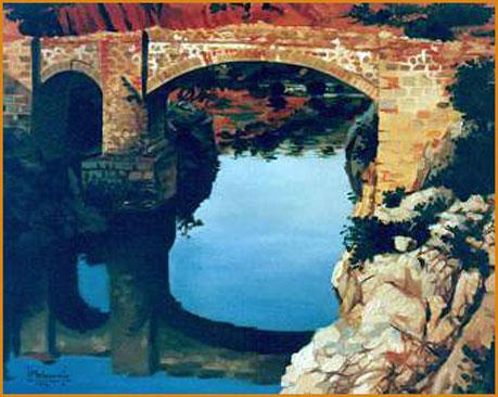 Puente romano (Jaén). Óleo sobre lienzo 41 x 33