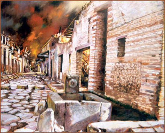 Pompeya Vía de la Abundancia. Óleo sobre lienzo
