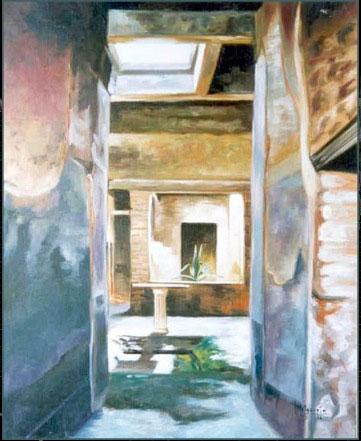 Una casa de Pompeya. Óleo sobre lienzo