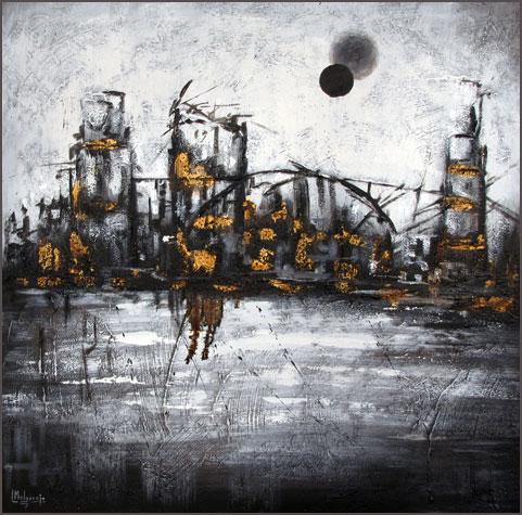 Armageddon. Técnica mixta y pan de oro 60 x 60
