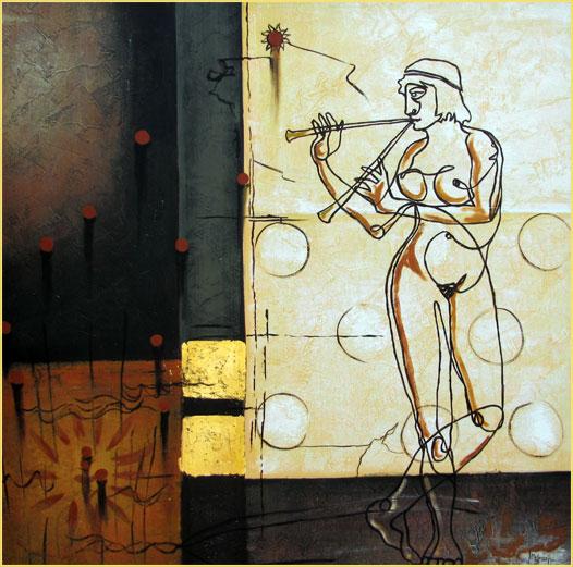 La flautista. Técnica mixta y pan de oro 100 x 100