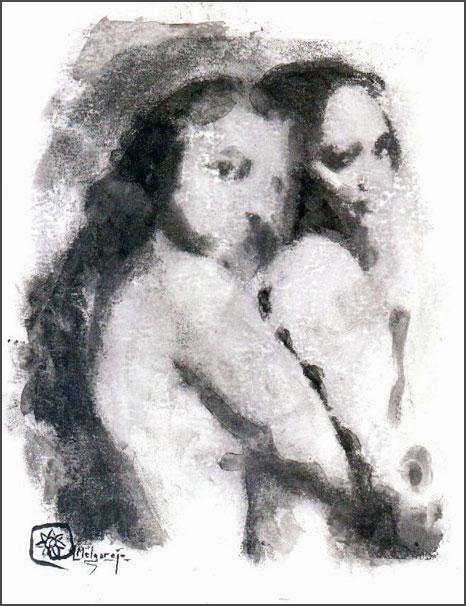 Lesbos. acuarela y tinta  pintada con los dedos 16x24