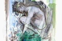 Narciso Acuarela. tinta y dibujo a un sólo trazo