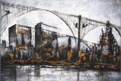 Puentes Sabox. Técnica mixta y pan de oro 60 x 60