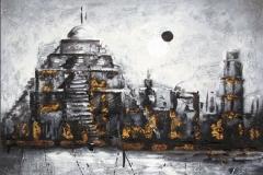Zigurath. Técnica mixta y pan de oro 60 x 60