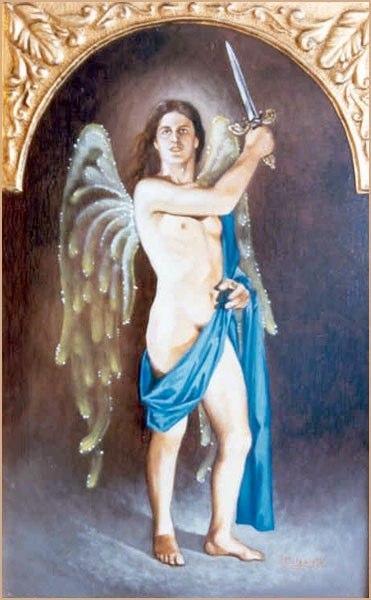 Camael Óleo sobre lienzo  y pan de oro bruñido
