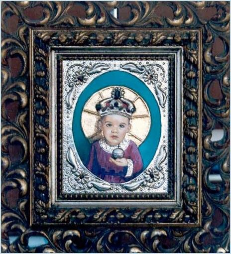 Niño Rey Óleo sobre oro, plata y piedras preciosas