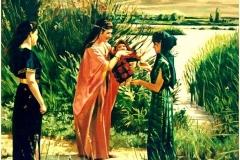 Moisés salvado del Nilo Óleo sobre lienzo 55 x 46
