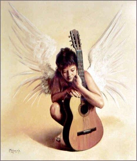 Energía de la guitarra Óleo sobre lienzo