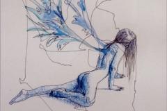 Sílfide Acuarela y tinta a un solo trazo 40 x 50